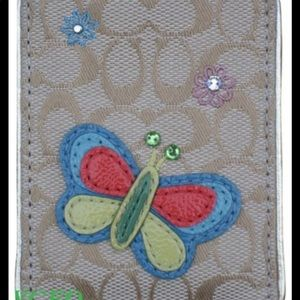 Coach butterfly signature tag card/badge holder